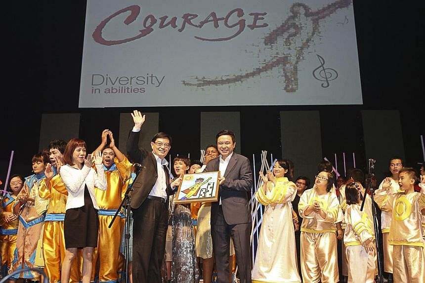 Education Minister Heng Swee Keat temporarily turned actor on Friday night, participating in a performance with special education students during a concert. -- PHOTO: UBS
