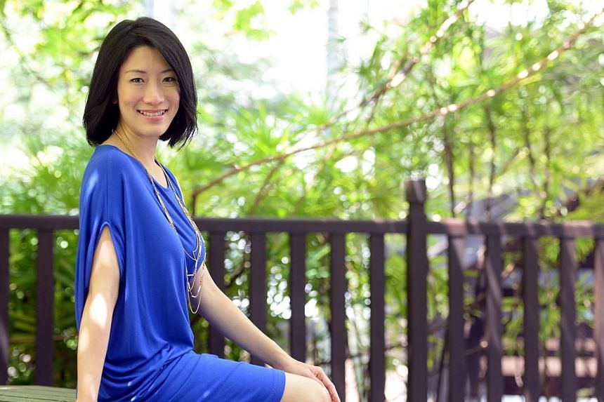 Voice artist Sharon Chen has done voiceovers for telephone messages and recently did a corporate video for Singapore Airlines. -- ST PHOTO: AZIZ HUSSIN