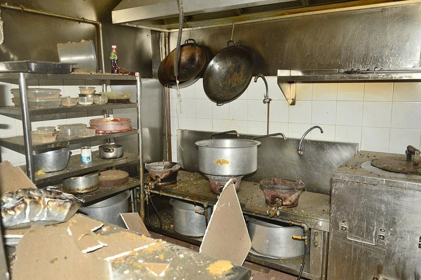 A gas leak reportedly caused an explosion in a restaurant's kitchen on Sunday morning, leaving its manager badly burnt and in hospital. -- PHOTO: WANBAO