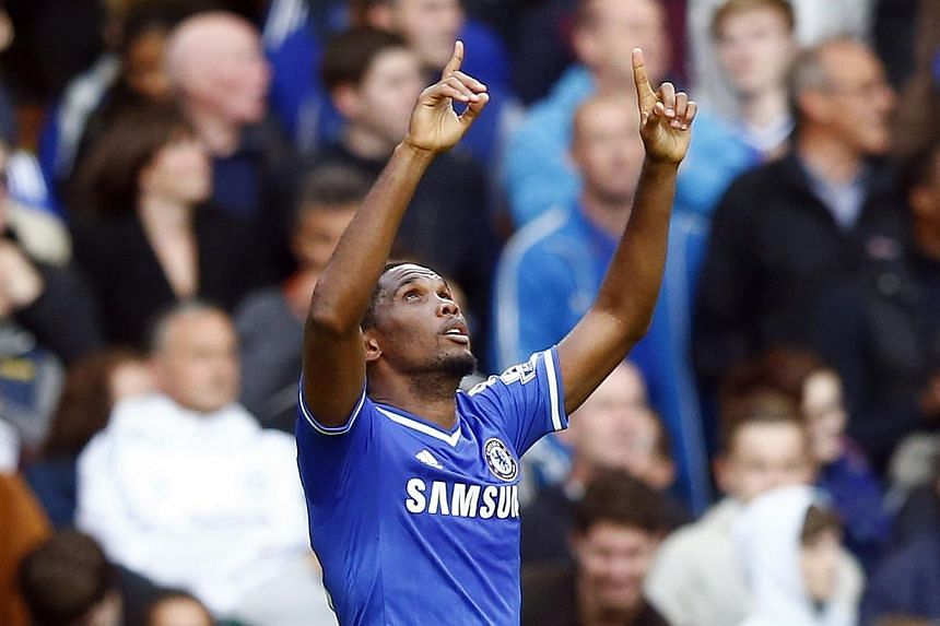 Chelsea's Samuel Eto'o celebrates scoring against Cardiff City during their English Premier League football match at Stamford Bridge in London, Oct 19, 2013. -- PHOTO: REUTERS