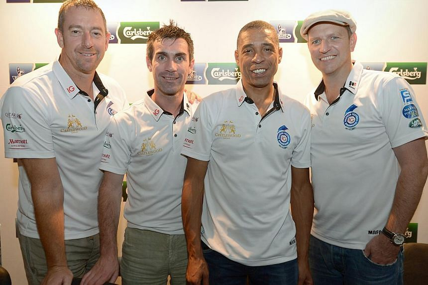 The English Premier League legends, (from left) Paul Jones, Keith Gillespie, Des Walker and Lee Sharpe in Singapore. -- ST PHOTO: NG SOR LUAN