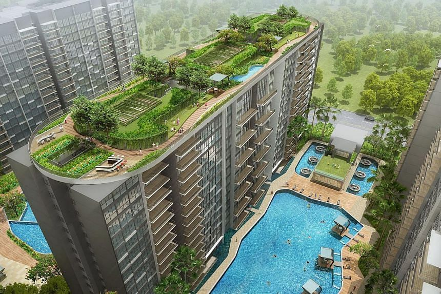 An Artist's impression of SkyPark Residences, a 506-unit executive condominium (EC) in Sembawang.SkyPark Residences in Sembawang is likely to be one of Singapore's most popular EC projects this year. -- FILE PHOTO:JBE HOLDINGS AND KEONG H