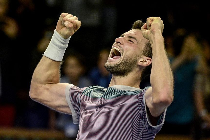 Bulgaria's Grigor Dimitrov reacts after winning against Spain's David Ferrer in the ATP Stockholm Open tennis tournament final match at the Royal Lawn Tennis Club in Stockholm, Sweden, Sunday Oct. 20, 2013. Bulgarian Grigor Dimitrov battled back from