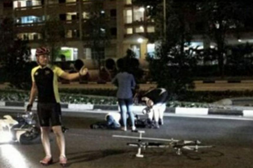 In a Facebook post on Sunday, user Dee Huny had appealed for witnesses to step forward, after she and her pillion rider were injured in what appeared to be a hit-an-run accident. -- PHOTO: STOMP