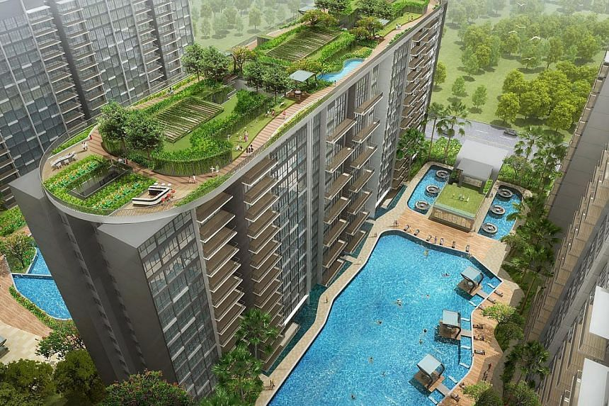"An artist's impression of SkyPark Residences, a 506-unit executive condominium project in Sembawang. It features a 1,250 sq m ""skypark"" straddling three towers about 50m above ground."