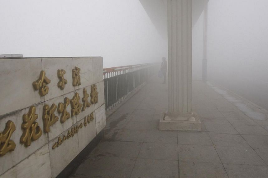 A woman stands on a bridge under heavy smog in Harbin, north-east China's Heilongjiang province, on Oct 21, 2013. -- PHOTO: AFP