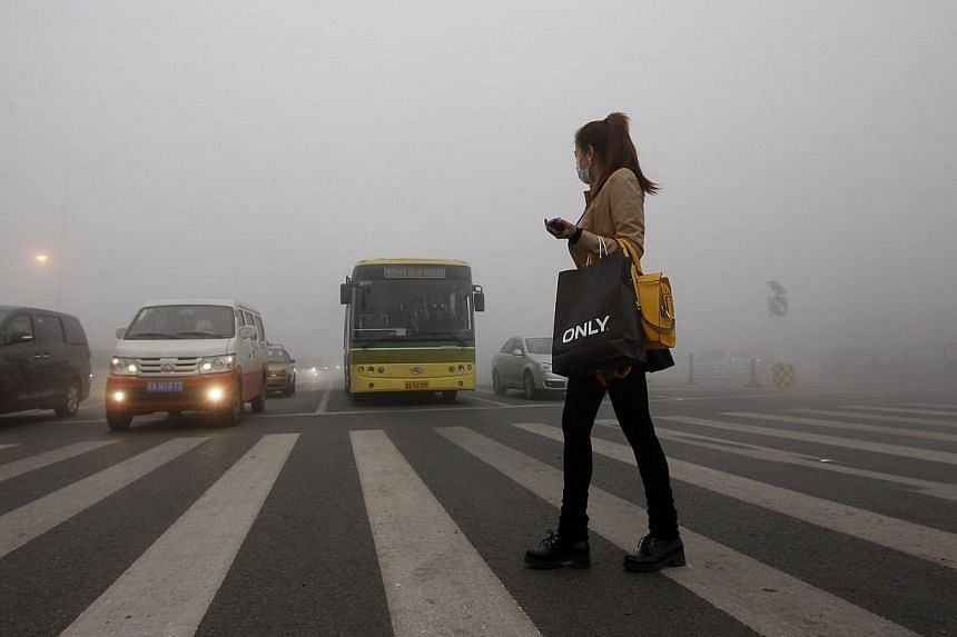 A woman wearing a mask walks in the smog in Harbin, north-east China's Heilongjiang province, on Oct 21, 2013. -- PHOTO: AFP