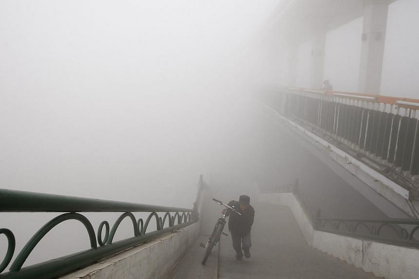 A man pushes a bike onto a bridge during a day of heavy pollution in Harbin in north-east China's Heilongjiang province on Monday, Oct 21, 2013. -- PHOTO: AP