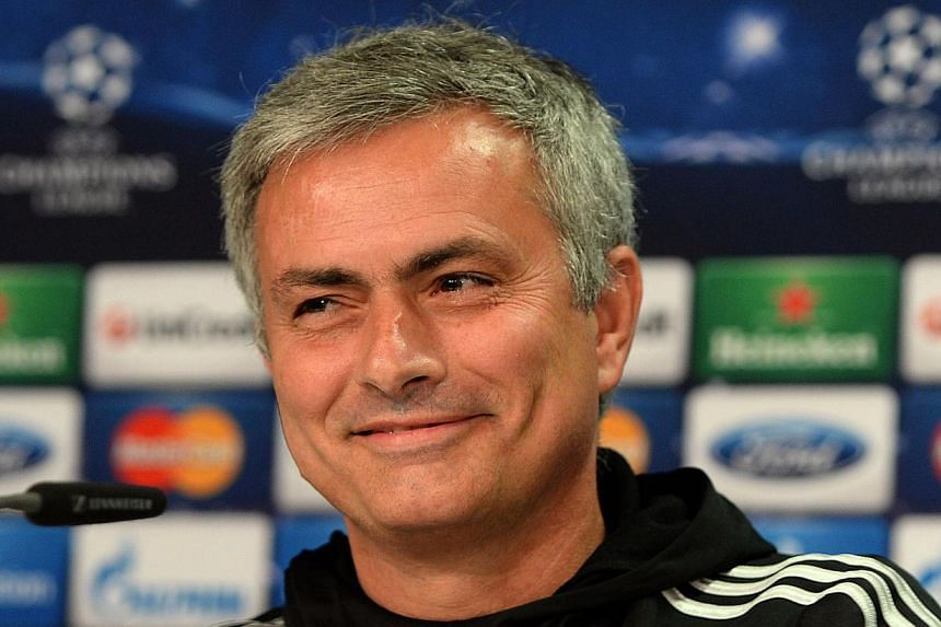 Chelsea´s Portuguese head coach Jose Mourinho addresses a press conference in Duesseldorf, western Germany on Oct 21, 2013, on the eve of the Uefa Champions League football match against Schalke 04. -- PHOTO: AFP