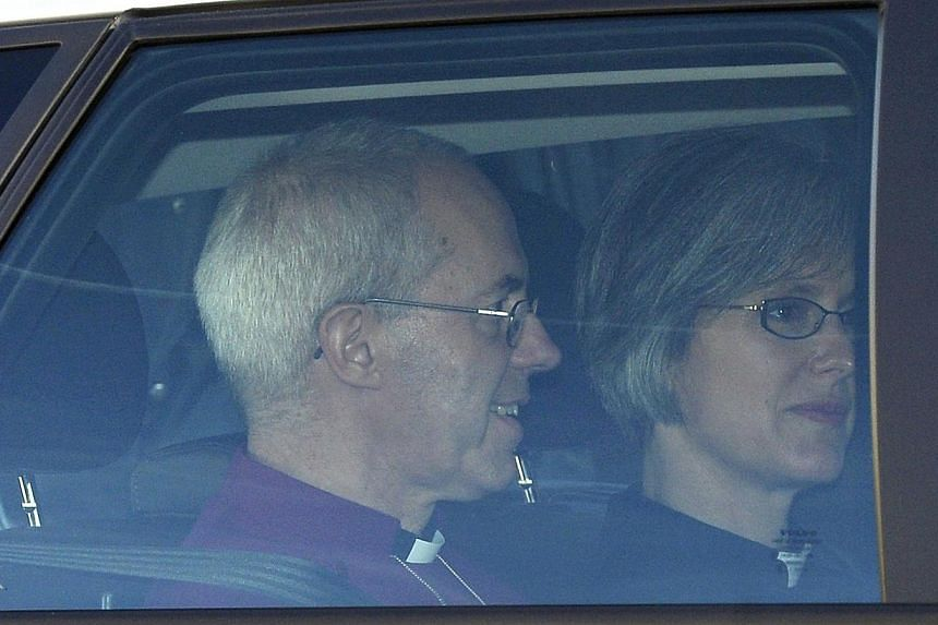 Britain's Archbishop of Canterbury Justin Welby arrives to christen Prince George at St James's Palace in London on Wednesday, Oct 23, 2013. -- PHOTO: REUTERS