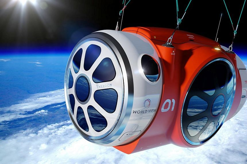 An artist rendering from World View Enterprises Inc, released on Tuesday, Oct 22, 2013, shows a six-passenger, two-pilot pressurised capsule that is being designed to fly in Earth's stratosphere, about 30km above the planet's surface. Seeking to
