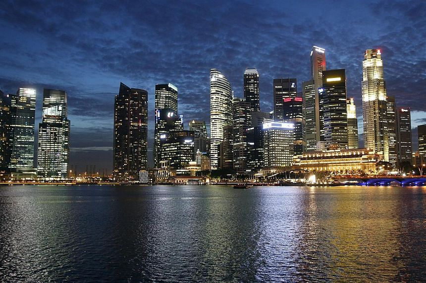 The skyline of the Central business district (CBD) photographed after dusk on Jan 7 2013. Singapore's consumer price index (CPI) in September probably rose at a slower year-on-year pace of 1.85 per cent after four consecutive months of gains, a Reute