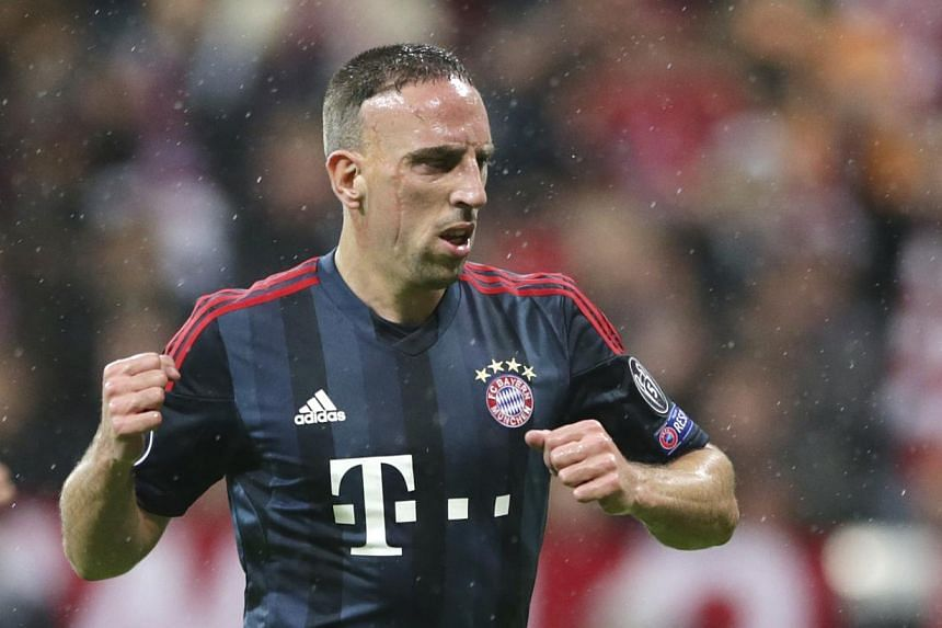 Bayern's Franck Ribery celebrates scoring the opening goal during the Champions League group D football match between FC Bayern Munich and Viktoria Plzen in Munich, Germany, Wednesday, Oct 23, 2013.A double by Franck Ribery inspired Champ