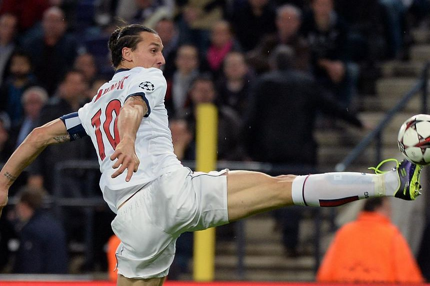 PSG player Zlatan Ibrahimovic controls the ball during their Group C Champions League soccer match against RSC Anderlecht in Brussels on Wednesday, Oct. 23, 2013.A sensational performance by Zlatan Ibrahimovic helped Paris Saint-Germain continu