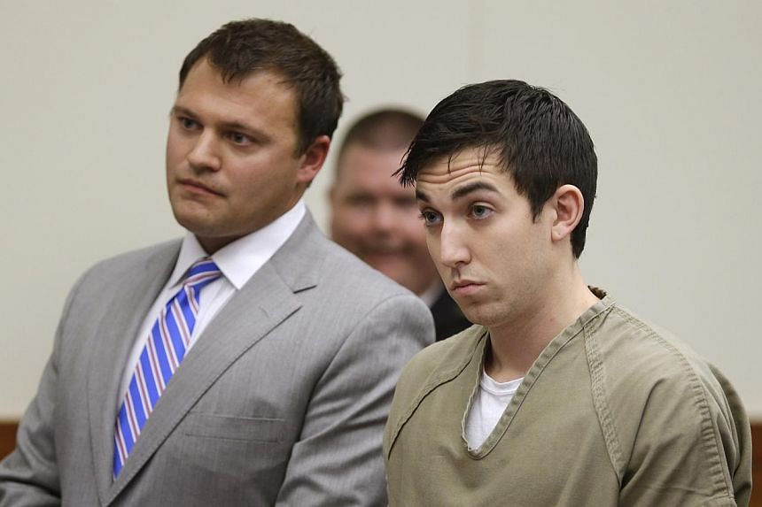 Matthew Cordle, right, stands before a judge during sentencing on Wednesday, Oct 23, 2013, in Columbus, Ohio.Cordle, whose remorseful video claim of responsiblity for a fatal drunk-driving accident has gone viral on YouTube, was sentenced on We