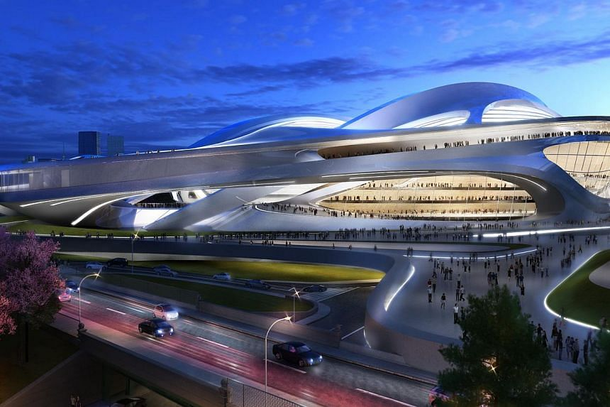 This file artist's rendering released by the Japan Sports Council shows the new National Stadium, the main venue Tokyo plans to build for the 2020 Tokyo Olympics. Japan may scale down its plans for a new Tokyo stadium for the 2020 Olympic Games in an