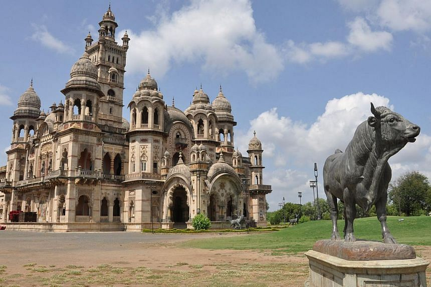 This photograph taken on June 18, 2013 shows a general view of the Laxmi Vilash Palace, claimed by members of the Gaekwad family, near Vadodara. A decades-long dispute between members of one of India's former royal families over palaces, diamonds and