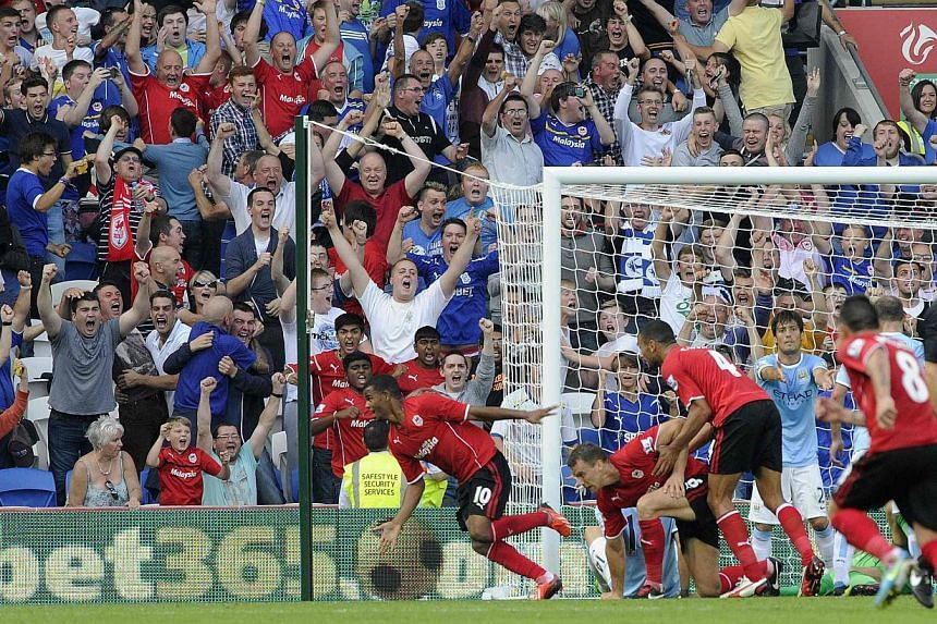 Cardiff City players celebrating after scoring a goal against Manchester City during an English Premier League match at Cardiff City Stadium. The club's owner Vincent Tan, who bought it three years ago when it was on the brink of insolvency, is mulli