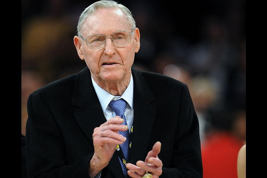Bill Sharman gestures as he is honoured along with other members of the 1974 Los Angeles Lakers Championship team, in Los Angeles, in this April 6, 2012 photo. Sharman, a basketball Hall of Famer with strong ties to two of the National Basketball Ass