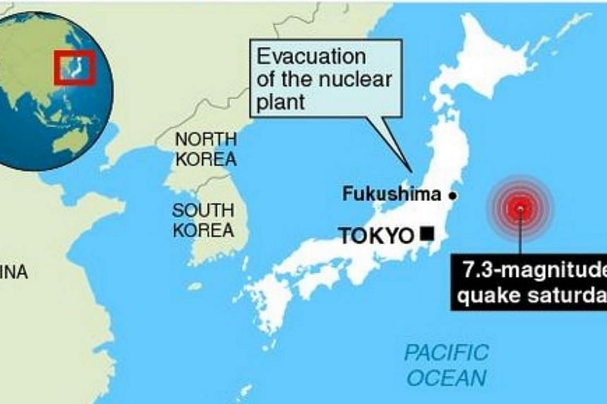 A small tsunami hit Japan on Saturday after a powerful and shallow undersea quake, although there were no immediate signs of serious damage and no reports of injuries or deaths. -- GRAPHIC: USGS/AFP