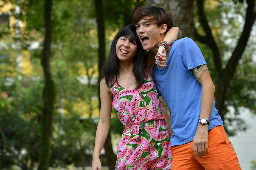 Mr Nicolas Amet, 24, has yet to pop the question to 23-year-old Victoria Hoo, his girlfriend of three years - but winning Kiss92 FM's first ever dating contest might just be the push he needed.-- ST PHOTO:KUA CHEE SIONG