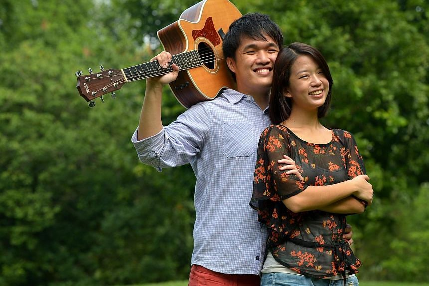 Two-thirds of local band The Animal Parade, Miss Tan Siling and Mr Jonathan Liang.-- ST PHOTO:KUA CHEE SIONG