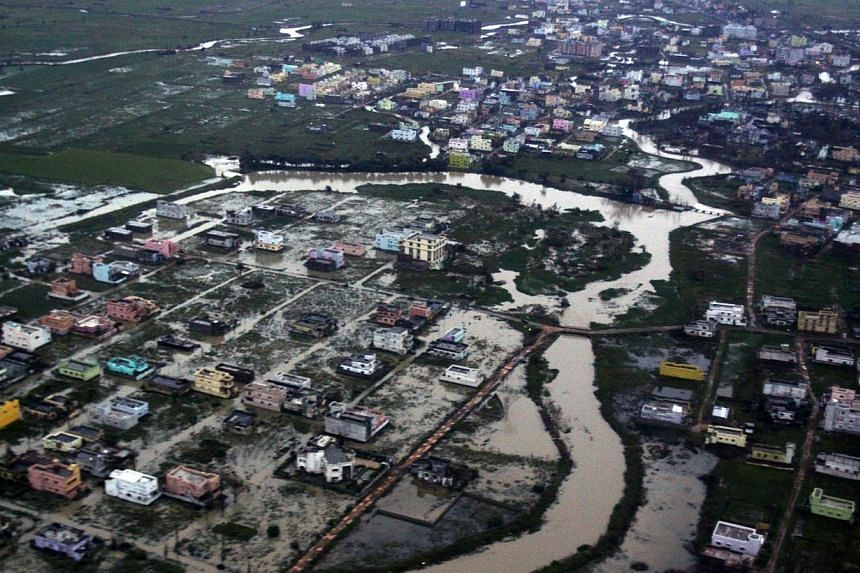 An aerial view of a flood affected area in Ganjam district of the eastern Indian state of Orissa, on Friday, Oct 25, 2013. -- PHOTO: AP
