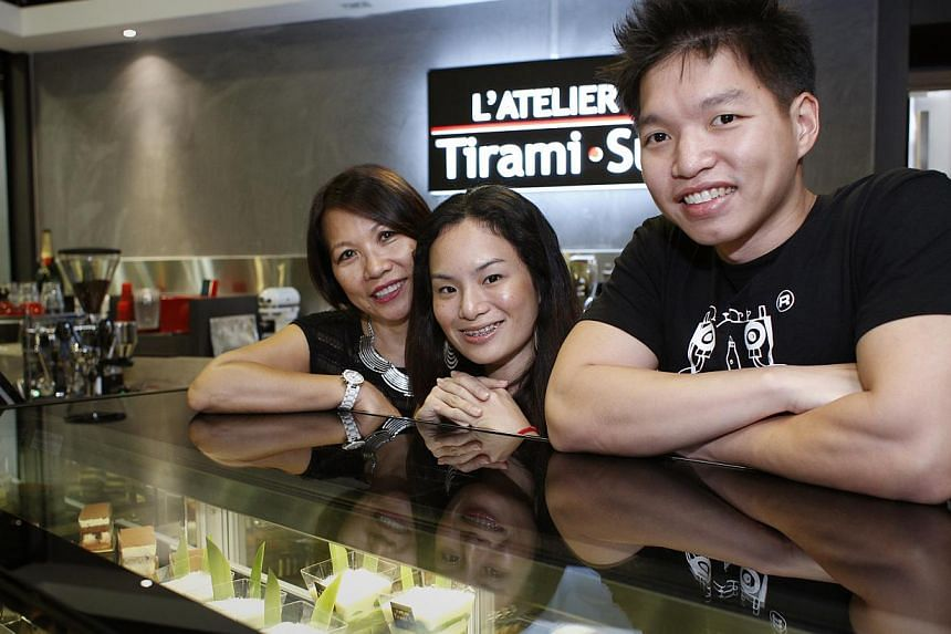 The Tiramisu Hero, co-owned by Ms Peggy Chang, offers tiramisu in a jar in flavours such as strawberry, Milo and Horlicks, while L'Atelier TiramiSu, run by Mrs Judith Josset, her son Sherwin and his girlfriend Amelia (all above), serves the dessert