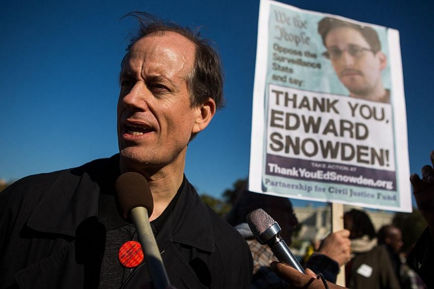 Former senior National Security Agency senior executive Thomas Drake speaks to reporters during the Stop Watching Us Rally protesting surveillance by the US National Security Agency, on Oct 26, 2013, in front of the US Capitol building in Washington,