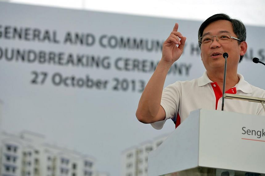 Minister for Health, Mr Gan Kim Yong at the ground breaking ceremony for new Sengkang General Hospital at the open field at the cross junction of Sengkang East Way and Sengkang East Road. Work on the next new general hospital, to be built in the nort