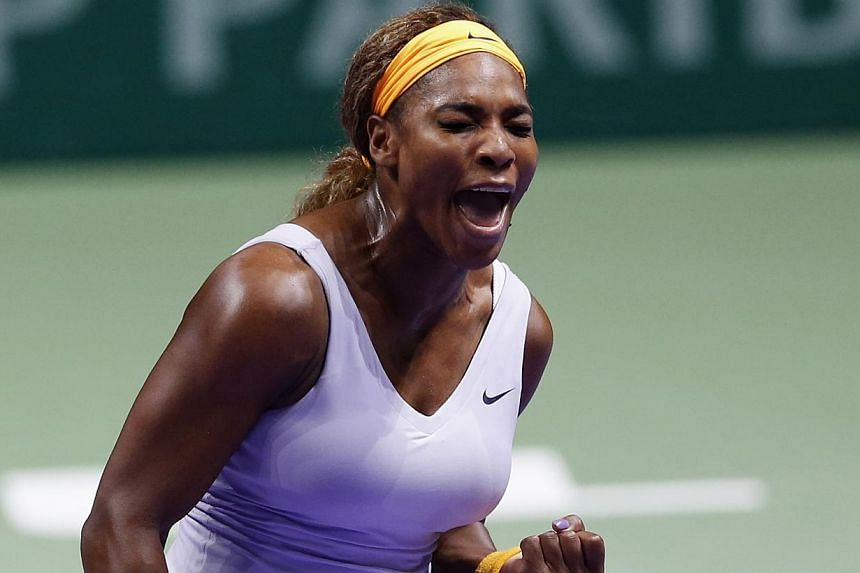 Serena Williams of the U.S. reacts during her WTA tennis championships final match against Li Na of China at Sinan Erdem Dome in Istanbul, on Oct 27, 2013. -- PHOTO: REUTERS
