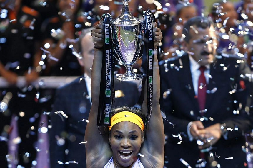 Serena Williams of the U.S. celebrates her victory against Li Na of China after their WTA tennis championships final match in Istanbul, on Oct 27, 2013. -- PHOTO: REUTERS