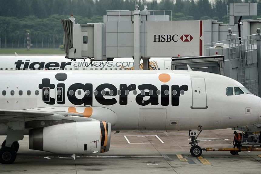 A Tiger Airways plane at Changi Airport on July 3, 2013. A Chinese national was jailed for nine months on Monday for stealing a passenger's hand-carry luggage on board an aircraft. -- ST FILE PHOTO: JOYCE FANG