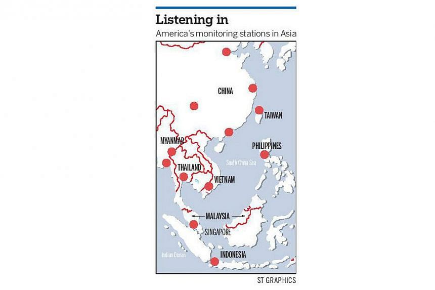 Points in the map show the United States' various listening posts in Asia.Leading South-east Asian nations voiced indignation and dismay as fresh revelations about US spying suggested that several countries in the region too were targets of hig