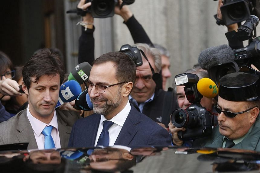 US ambassador in Spain, James Costos, leaves the foreign ministry after being summoned to a meeting with Spain's European Secretary of State in Madrid Oct 28, 2013. The Spanish government demanded details as it called in US Ambassador James Costos to
