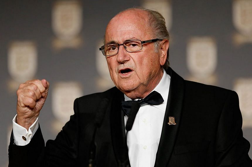 Real Madrid have asked Fifa to rectify comments from its president Sepp Blatter (above) that appeared to mock their Portugal forward Cristiano Ronaldo, coach Carlo Ancelotti said today. -- PHOTO: AFP/ FA / TOM SHA