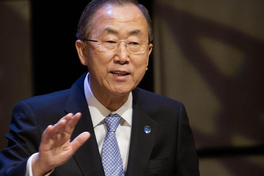 United Nations' Secretary-General Ban Ki Moon gestures while speaking during a debate with young Danish students at the Danisg Royal Library in Copenhagen on Oct 23, 2013. Syria is on target to meet a looming deadline to destroy its chemical weapons