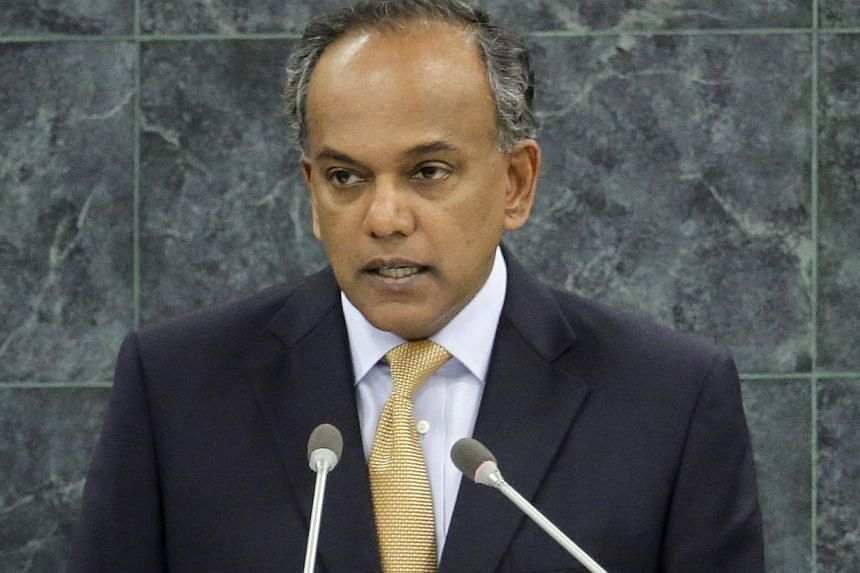 K. Shanmugam, minister of foreign affairs of Singapore, addresses the 68th session of the United Nations General Assembly at UN headquarters in New York, Sept 28, 2013. Singapore will look to take advantage of growth in the region - with Asian econom