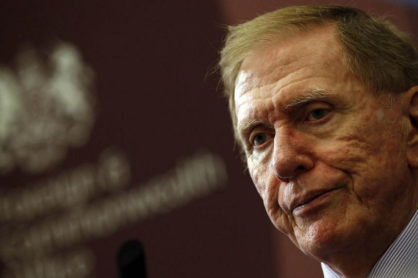 Retired Australian judge Michael Kirby, Chairperson of the commission of inquiry of the Democratic Republic of Korea speaks during a press conference at The Foreign and Commonwealth Office in London on Oct 24, 2013. The head of a UN inquiry into Nort