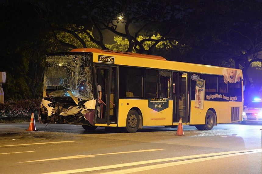 The SBS bus that was involved in the pileup. According to an eyewitness, there were less than 10 passengers on board. SCDF says three of them were sent to SGH. -- ST PHOTO: RAJ NADARAJAN