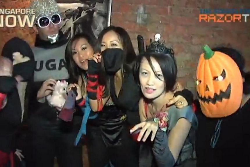 Halloween might have started in the West as a way to honour the dead, but in Singapore and many countries, it has become an excuse to dress up, make merry and party. -- PHOTO: RAZOR TV