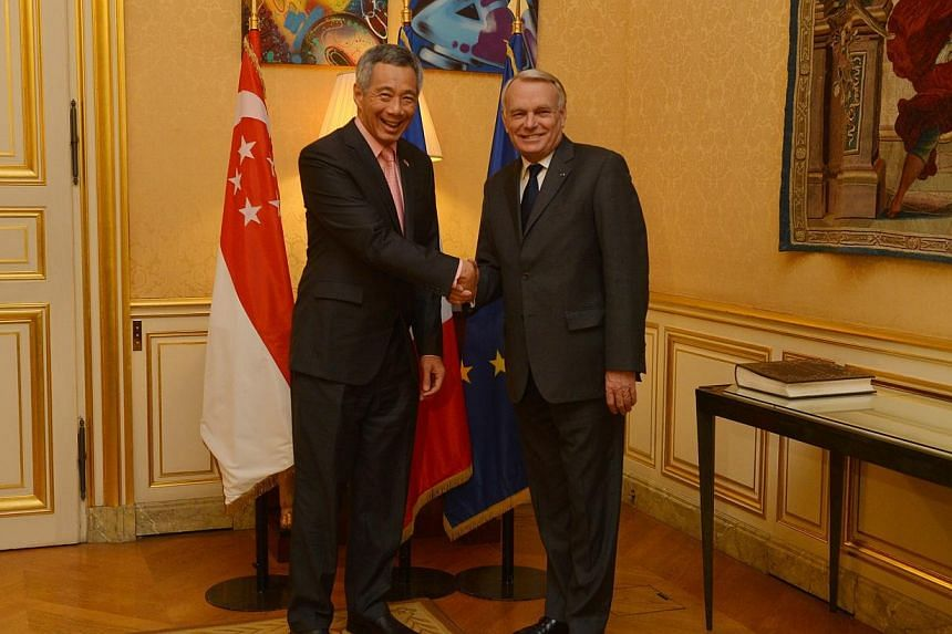 Prime Minister Lee Hsien Loong meets his French counterpart Jean-Marc Ayrault at the Matignon, on Tuesday, Oct 29, 2013. The strategic partnership between Singapore and France will be reviewed annually as both countries make clear