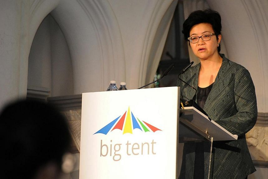 Ms Yong, permanent secretary of the National Research Foundation and the Public Services Division, speaking at the Google Big Tent event at Chijmes on Tuesday. -- PHOTO: GOOGLE