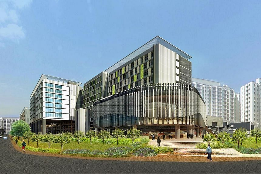 An artist's impression of the Sengkang General Hospital and Sengkang Community Hospital, both of which are expected to open in 2018. -- PHOTO: SINGHEALTH