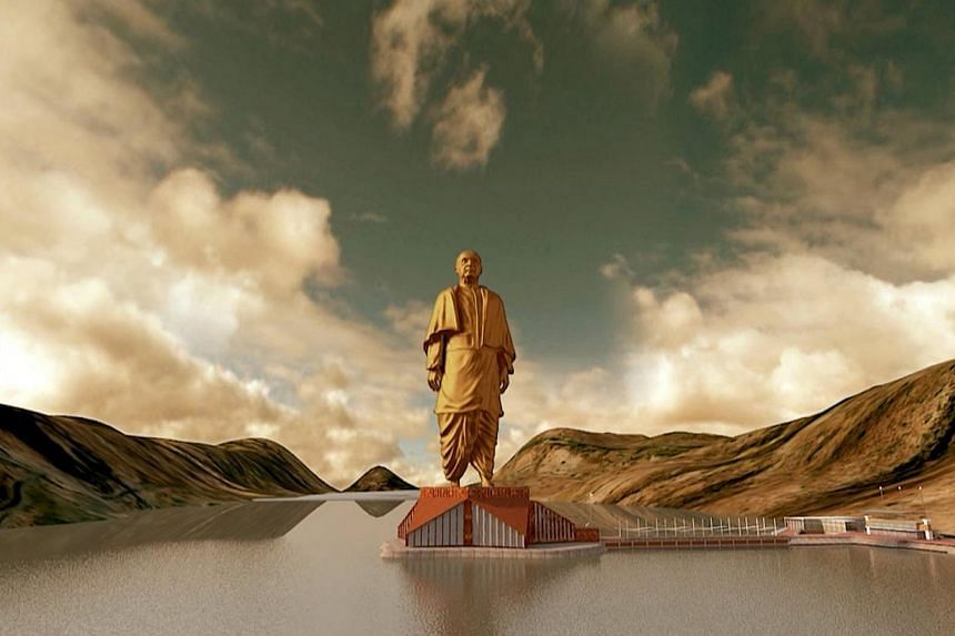 A still image from a video shows an artist's rendering of a statue of Sardar Vallabhbhai Patel, to be constructed in the western Indian state of Gujarat, in this handout provided by Information Department Gujarat State on Thursday, Oct 31, 2013.&nbsp