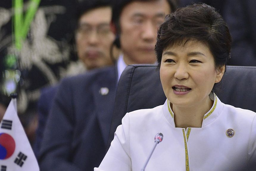 South Korea's President Park Geun Hye speaks at the Asean Plus Three Summit in Bandar Seri Begawan, on Oct 10, 2013. Ms Park Geun Hye vowed on Thursday to ensure the political neutrality of government agencies, as she addressed allegations that the d