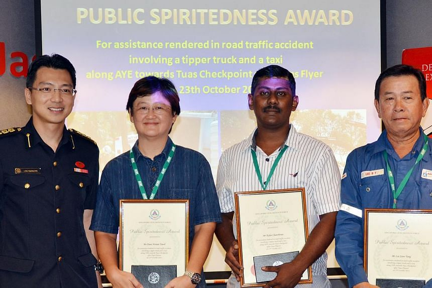 The Singapore Civil Defence Force (SCDF) gave public spiritedness awards to three more people who had helped the victims of the Ayer Rajah Expressway tipper truck accident during a closed-door ceremony on Oct 31, 2013. They were Ms Dani Norain Tawil