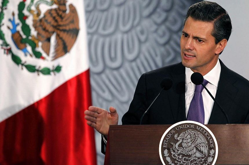 Mexico's President Enrique Pena Nieto speaks during a welcome ceremony for Ireland's President Michael D Higgins at the National Palace in Mexico City Oct 21, 2013. Mr Pena Nieto encouraged Mexicans on Oct 31 to walk more, use stairs and exercise one