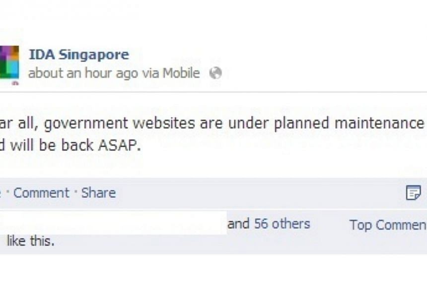 "Several websites belonging to ministries and government agencies here were offline for some time earlier on Saturday, Nov 2, 2013. But the Infocomm Development Authority of Singapore (IDA) said it was due to a ""planned maintenance"" that took longer t"