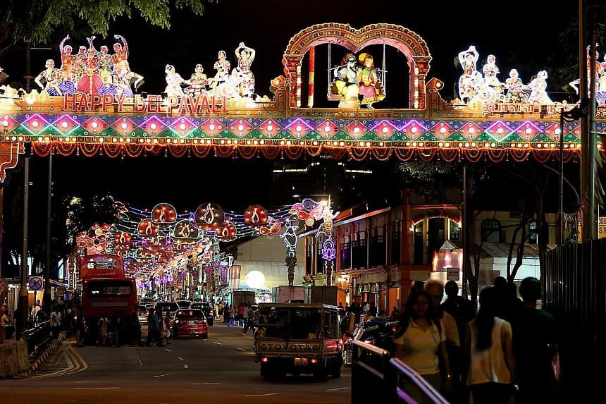 The Deepavali decorations in Little India. -- NP PHOTO: LATASHNI GOBI NATHAN